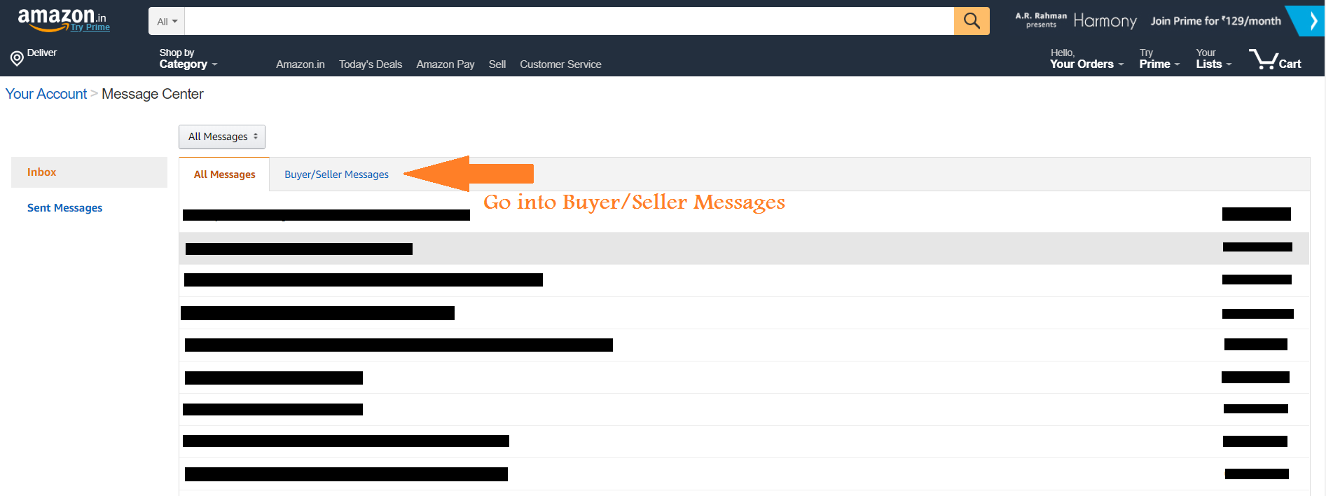 Amazon Email Delivery- Message center new