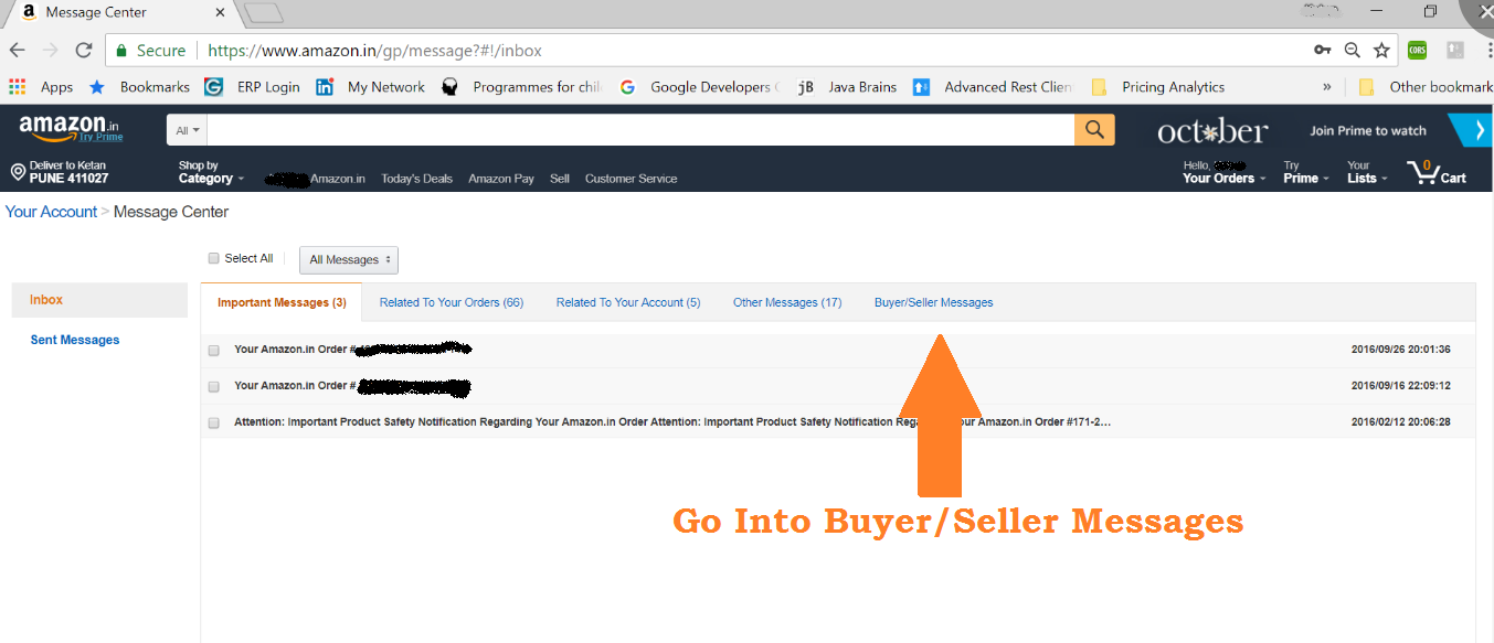 Amazon Email Delivery in India- Message center