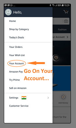 Amazon Mobile Application India- Your Account